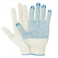 Перчатки ХБ с ПВХ  Люкс,  5 нитей, 10 класс вязки, цвет:  белый / черный