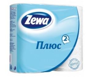 """Туалетная бумага """"Zewa плюс"""", белая, 2 слоя (1*4 рул./уп.)"""