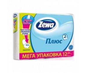 """Туалетная бумага """"Zewa плюс"""", белая, 2 слоя (1*12 рул./уп.)"""