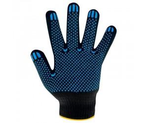 Перчатки ХБ с ПВХ, 6 нитей,  7,5 класс вязки, цвет:  черный