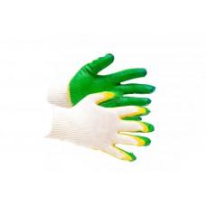 Перчатки ХБ, покрытие – 2-ой облив латексом (СВС) 13 класс вязки, 1й слой желтый, 2й зеленого цвета