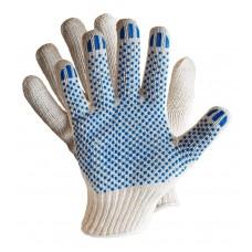 Перчатки ХБ с ПВХ, 4 нити, 10 класс вязки, цвет:  белый / черный